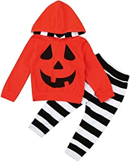 Moneycom❤Toddler B/éb/és Gar/çons Filles Tops /À Capuche Pulls Pantalons /à Rayures Halloween Ensemble Halloween Vetement t-Shirt Halloween Robe m/édi/évale Halloween Film Blanc