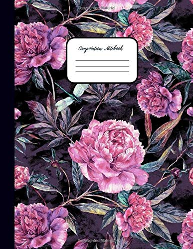 COMPOSITION NOTEBOOK: Hot Pink Peonies Floral Pattern – School Notebooks College Ruled for Students, Kids & Teens - Ruled Pages Book for Writing Notes ... supplies composition notebook, Band 1)
