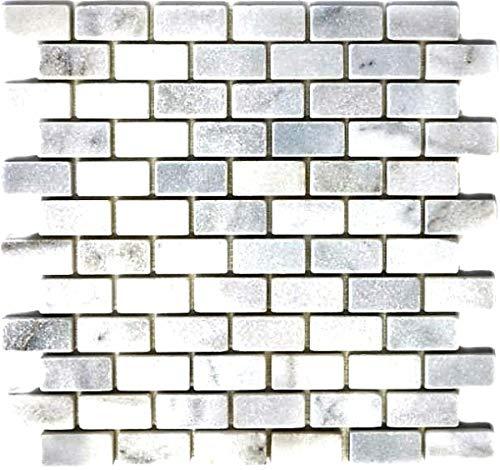 Azulejos de mosaico de mármol y piedra natural blanco Brick Ibiza Antique Marble MOSSopo-46692