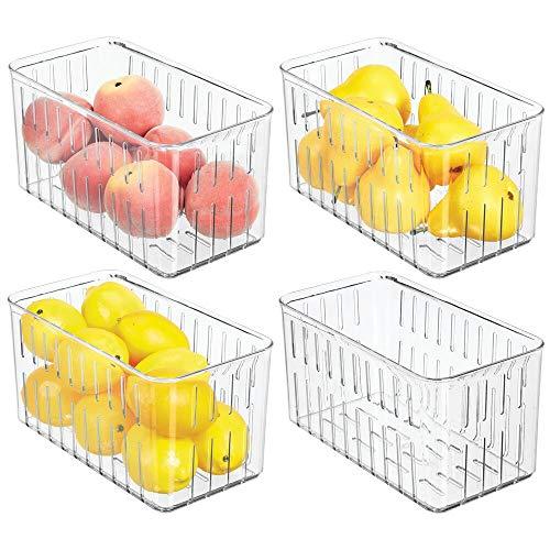 mDesign Förvaringslåda för mat – Mellanstora ventilerade förvaringslådor i plast – Perfekt för kylskåpsförvaring – 4-pack – Klar