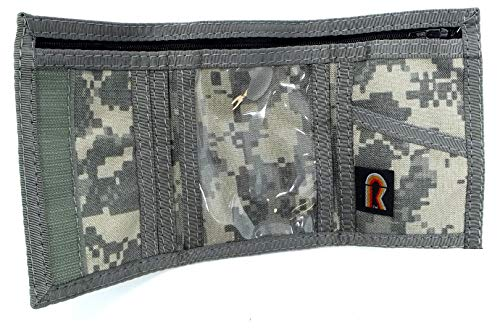 Military Camouflage Trifold ID Wallet. Outside & Inside ID Hook n Loop. USA Made (ACU)