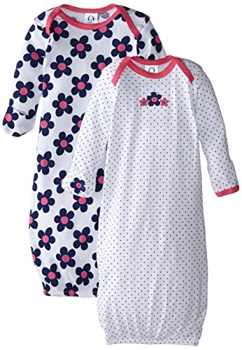 Gerber Baby-Girls Lap Shoulder Gown, Flowers, 0-6 Months (Pack of 2)