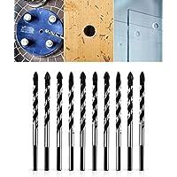 QWORK - Juego de brocas multimaterial para azulejos, hormigón, ladrillo, vidrio, plástico y madera (10 unidades, 8 mm)