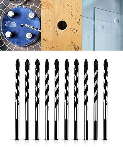 QWORK Juego de brocas multimateriales para cerámica, azulejos, hormigón, ladrillo, vidrio, plástico y madera, 10 unidades de 6 mm (1 4 pulgadas)