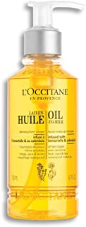 L'Occitane Oil-to-Milk Face Makeup Remover Infused with Immortelle and Calendula for All Skin Types, 6.7 fl. oz.
