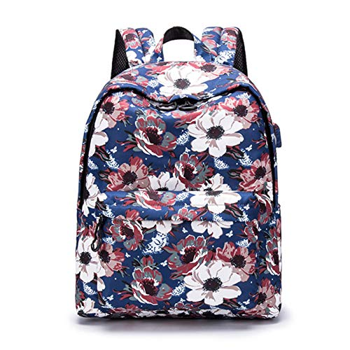 NgMik Estudiante de Bolsa de Escuela Mochila Escolar para niñas Mujeres Adolescentes Ligeras Lightweight Bookbags Durable Schoolbag Bookpacks para Adolescentes (Color : Blue, Size : 14inch)