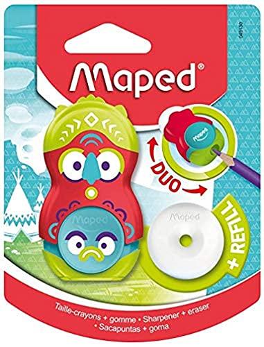 Maped - Duo Taille-Crayon / Gomme Loopy - Taille-Crayon avec Réservoir + 1 Trou - Gomme Blanche Rotative sans PVC + Recharge - Avec Capuchon de Protection - Design Totem Rouge / Vert