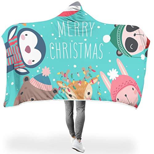 Dofeely Fröhliche Weihnachten SerieHome Tapisserie Hooded Blanket Bequemes Microfaser Schlafdecke Winter TV Fleecedecke Für Kinder White 150x200cm