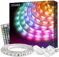 Govee LED Strip Lights 5m, with 44 Key Remote for Bedroom, Kitchen, Desk, TV, 12V Power Supply UK Plug
