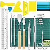 19 piezas de vinilo herramientas de deshierbe accesorios de plotter de acero inoxidable HTV + 1 pieza de tapete de corte A5