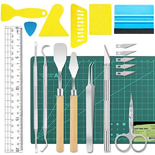 19 Stück Vinyl Jäten Werkzeuge Edelstahl Plotter Zubehör HTV+1 Stück A5 Schneidematte, DIY Bastelwerkzeug Set,Cameos, Beschriftung, Weihnachtsgeschenke diy machen