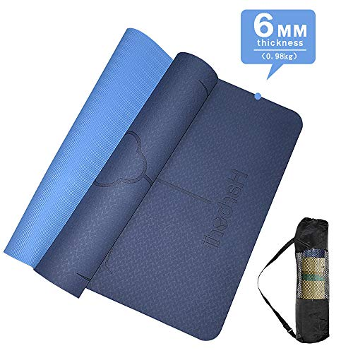 HARBORII Yoga Mat Non Slip Premium 6mm Thickness Yoga Mat with Body Alignment System Workout Mat for Yoga Exercise & Fitness Mats with Carrying Strap for Men & Women, Pilates and Floor Exercises