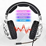 SADES SA818Plus Noise Cancelling Over Ear Headphones Stereo Gaming Headset with Mic,Volume-Control, Bass, Soft Memory Earmuffs for Xbox One PS4 Pro Laptop Mac Nintendo Switch Games-Camo