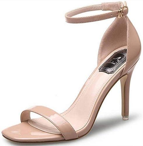 TFTORY Chaussures pour Les Les dames à la Mode, Sandales à Talons Aiguilles Et Boucle à Bouts Ouverts, Apricot 6CM, 34