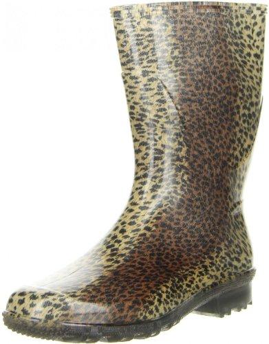 G&G Damen wasserdichte Gummistiefel Regenstiefeletten Leopardenmuster, Größe:39, Farbe:Mehrfarbig