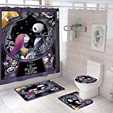DDS-DUDES 4Pcs Nightmare Before Christmas Zombie Bride Jack Shower Curtain Sets Kids Bathroom Halloween Decor with 12 Curtain Hooks for Bathroom, Waterproof 71 x 71 inch (D1)