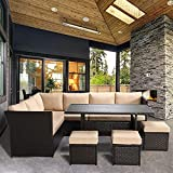 YASRKML 7 Piece Outdoor Patio Furniture Sets, Wicker Patio Sectional Sofa Sets with Dining Table, Manual Weaving Rattan Sectional Furnitures Patio Conversation Sets Clearance for Deck Backyard