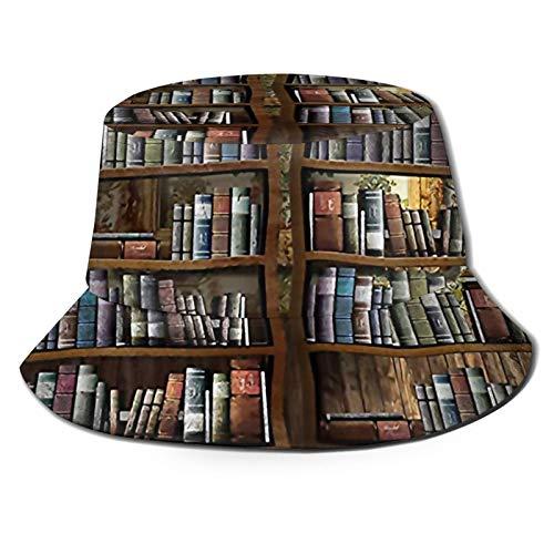 GAHAHA Fischerhüte für Herren, Vintage-Bücherregal, Fischermütze, faltbar, Sonnenschutz, UV-Schutz, Unisex