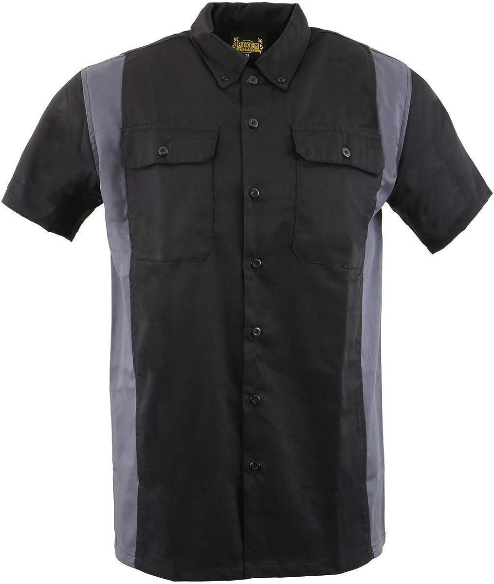 Biker Clothing Co. MDM11674.01 Men's Two-Tone Black and Grey Short Sleeve Motorcycle Mechanic Shirt