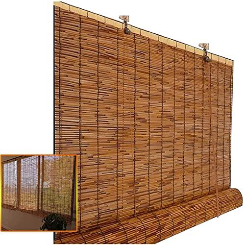 KLMN Patio Al Aire Libre con Persianas de Bambú,Persianas Enrollables para Patio,Cortina de Bambú Ecológica Tejida a Mano,Sombra,Aislamiento Térmico,W91xH163cm/36x64in