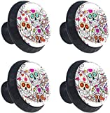 Kitchen Cabinet Knobs - The Dead of Sugar Skulls Knobs for Dresser Drawers for Cupboard,Wardrobe,Bathroom or Office - Pack of 4