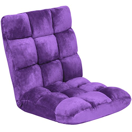 Best Choice Products 14-Position Folding Adjustable Memory Foam Cushioned Padded Gaming Floor Sofa Chair - Purple