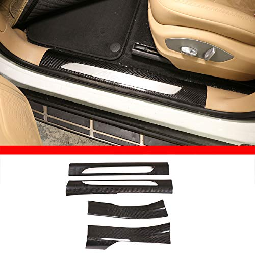 Tira de umbral de fibra de carbono 100% real para puerta interior de coche para accesorios de coche Macan 2014-2020