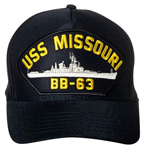 United States Navy USS Missouri BB-63 Battleship Emblem Patch Hat Navy Blue Baseball Cap
