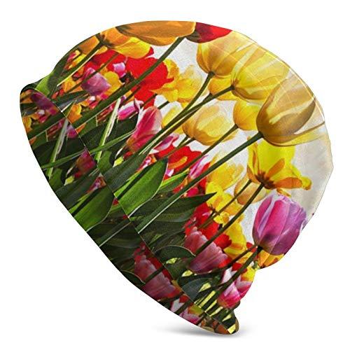 Blue Sky Tulip sottobicchieri Floreali per Uomo Adulto Berretto Lavorato a Maglia - Berretto Unisex Cappelli, Berretto con Teschio, Passamontagna, Mezzo Passamontagna