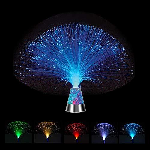 Hankyky Lampe à Fibre Optique, Fountain Night Light Ice LED 7 Changement Couleur Base Cristal 5 pièces