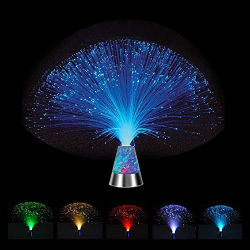 Hankyky Fiber Optic Lamp, Fountain Night Light LED 7 Color Changing Battery-Operated Crystal Base Mood Novelty Nightlight Light for Wedding Christmas Party Holiday
