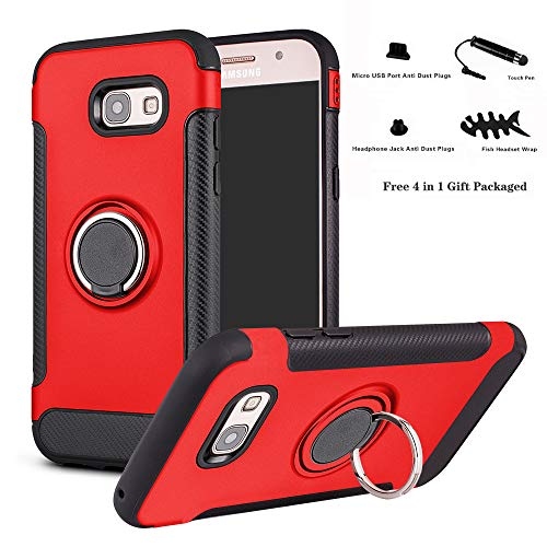 Galaxy A5 2017 case,Labanema Hybrid Dual Layer 360 Degree Rotation Ring Holder Kickstand Armor Slim Protective Cover for Samsung Galaxy A5 2017 - Red