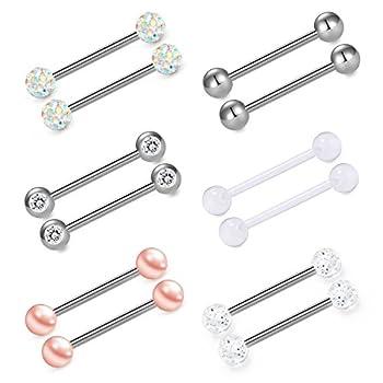 vcmart Nipple Rings Tongue Ring Surgical Steel Nipplerings Piercing Women Silver Barbells 14G 6 Pairs 5/8  16mm