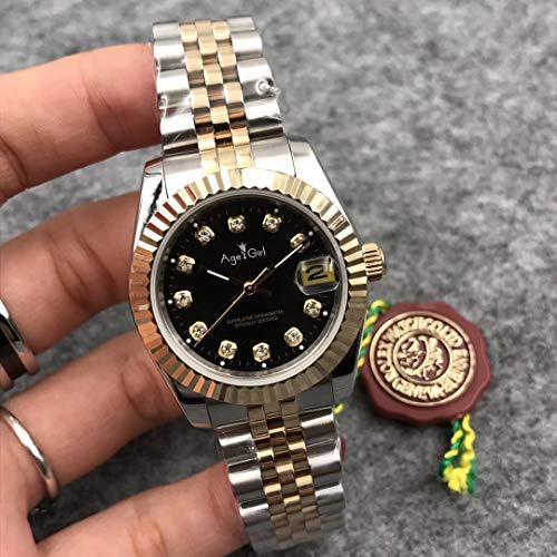 LKYH Klassische Armbanduhr Damen Datejust Edelstahl Automatische mechanische Saphirsilber 18 Karat Gelbgold Schwarze Diamanten Uhr 31mm
