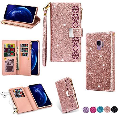 Hancda - Funda de piel con tapa para Samsung Galaxy S9, con tarjetero, cierre magnético, color rosa dorado