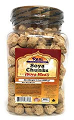 """You'll LOVE our Soya Chunks by Rani Brand--Here's Why: Great Meat Substitute / Alternate 100% Natural, No preservatives or """"fillers"""" ... NON-GMO Packed in a no barrier Plastic Jar, let us tell you how important that is when using soya products, prote..."""