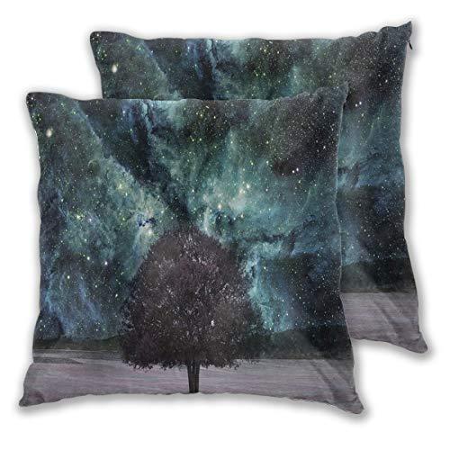 LISNIANY federe 2 Pack,Nebulosa dello Spazio cosmico Galaxy Stars Mars Jupiter con Un Albero su Un Pianeta Stampa Universo,Cuscini per divani Decorativo Cuscino copricuscini Divano Caso