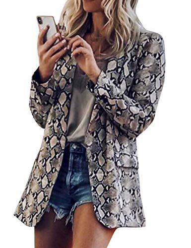 SOMTHRON dames mode luipaardpatroon blazer slim fit revers pak jas met slangenpatroon