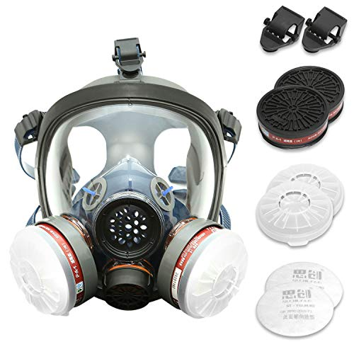 Full Face Organic Vapor Respirator - Protective Eye & Nose Shield with Anti-Fog Heavy Duty Lens & Adjustable - Includes 2 Cartridges, Double Activated Charcoal Air Filter - Industrial Grade