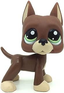 ZAD Littlest Pet Shop LPS Loose Toys Brown Great Dane Puggy Dog Green Eyes #1519