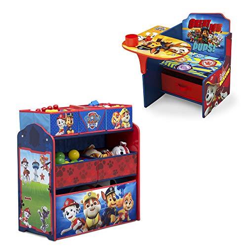 Nick Jr. PAW Patrol 2-Piece Playroom Set – Set Includes Design & Store 6 Bin Toy Organizer and Chair Desk with Storage Bin by Delta Children