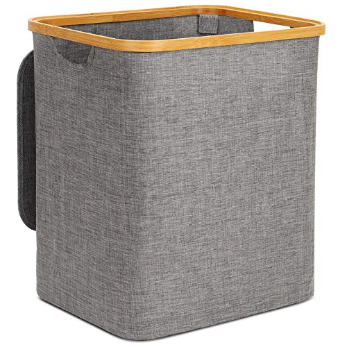 Cesto para la ropa sucia con tapa, grande, 60 litros, con asas, plegable, grande, extraíble, cesta para la colada, cesta para la colada con tapa, color gris