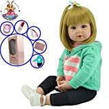 Antboat Lebensecht Reborn Babypuppe Mädchen 19 Zoll 48 cm Weiches Silikon Vinyl Handgemacht Neugeborene Babyspielzeug Magnetischer Mund Reborn Toddler Dolls