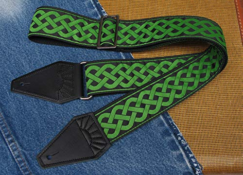 Green CELTIC KNOT Cotton USA made TROPHY Guitar Strap