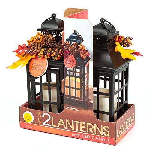 Anderson's Thanksgiving Decorative Lantern Set, 10 1/2 Inches, Holiday Decorations