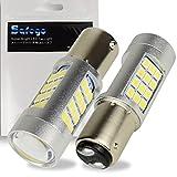 Safego 2 x 1157 Lampadine LED BAY15D per Auto Moto Fanalini Direzionali Luce di Parcheggio 2057 2357 6000K 2835 42SMD Bianco 12V