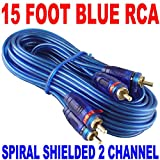 New Samurai Audio 15' FT 2 CH Blue Twisted CAR AMP RCA Cables INTERCONNECT 15FT