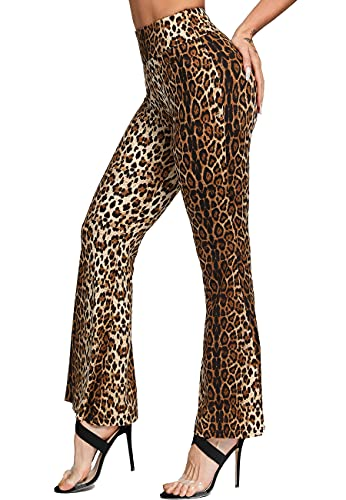 SEASUM Pantaloni Sportivi da Donna Zampa d'Elefante Casual Larghi Yoga Pants Flare Largo Campana Aderenti Bootcut Elastici Palestra Pilates, F-Stampa Leopardata Marrone S