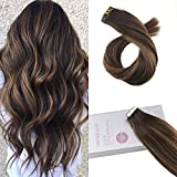 【Buy 2 Saving 6%】Moresoo 18 Inch Ombre Tape in Hair Extensions Human Hair Tape in Extensions 50g Darkest Brown to Brown Highlight with Brown Skin Weft Tape in Hair 20pcs 100% Hair Extensions