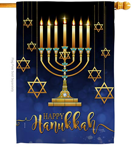 Breeze Decor Happy Hanukkah House Flag Winter Candle Bonsai Menorah Jewish Chanukah David Decoration Banner Small Garden Yard Gift Double-Sided, 28' x 40', Thick Fabric